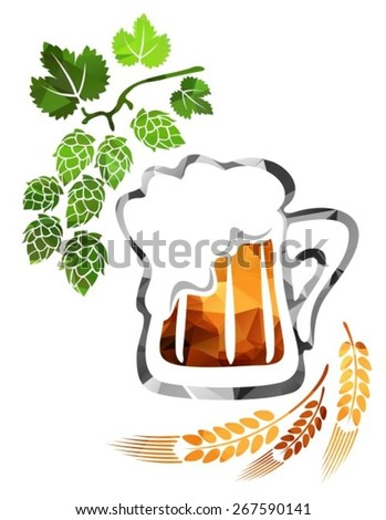Stylized beer mug isolated on a white background. - stock vector