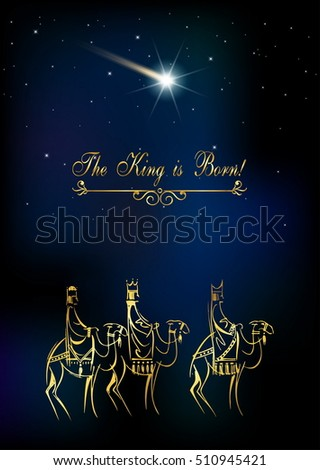 Stylized Biblical Christmas Illustration Three Wise Stock Vector ...