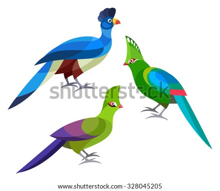 Stylized Birds - Great Blue Turaco, Livingstone's Turaco, Green Turaco