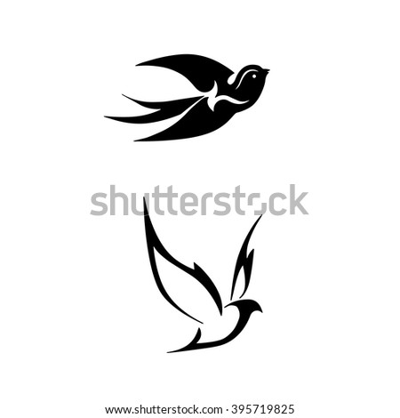 stylized black birds, swallows silhouettes, linear images of birds , logos in the form of birds - stock vector