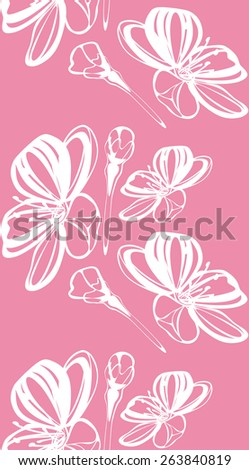 Stylized blooming cherry. Seamless pink background. Vector - stock vector
