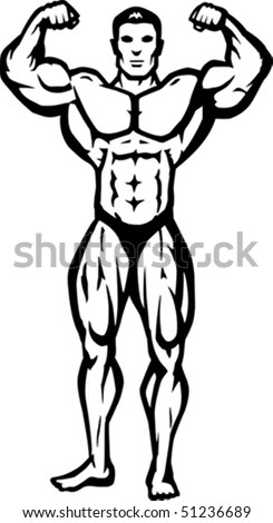 Stylized bodybuilder, bathing suit is on a separate layer, and can be removed. - stock vector