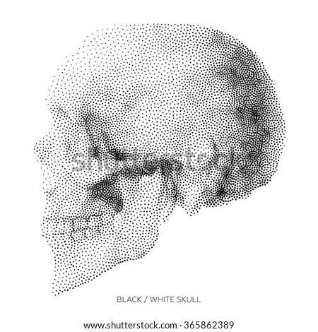 Stylized Bony skeleton of the face and the side part of the skull, design element, vintage illustration in pointillism style - stock vector