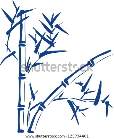 Stylized branch of bamboo blue. - stock vector