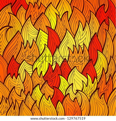 Stylized bright fire background with abstract flames Eps10 - stock vector