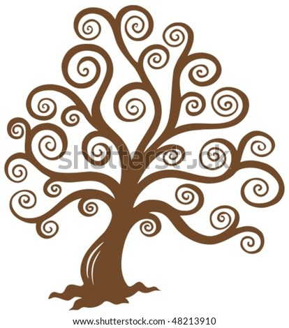 Stylized brown tree silhouette - vector illustration.