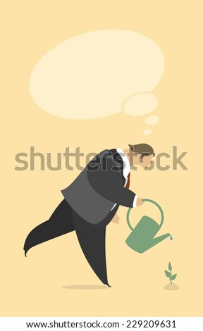 stylized businessman watering a plant from watering can - stock vector