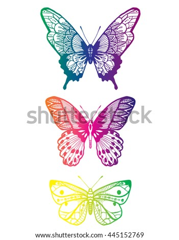 Stylized butterflies. Set butterflies. Decorative insects. Line art. Black and white drawing by hand. Doodling. Zentangle.