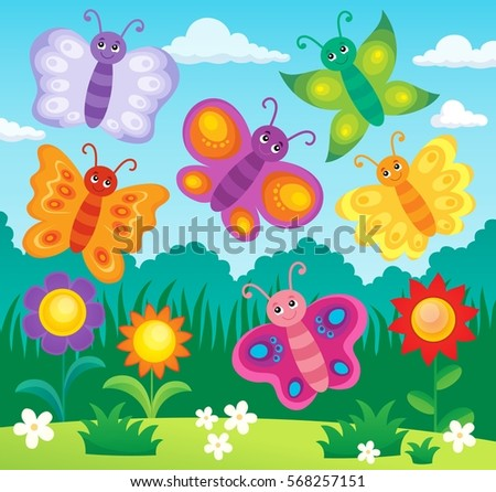Stylized butterflies theme image 2 - eps10 vector illustration.