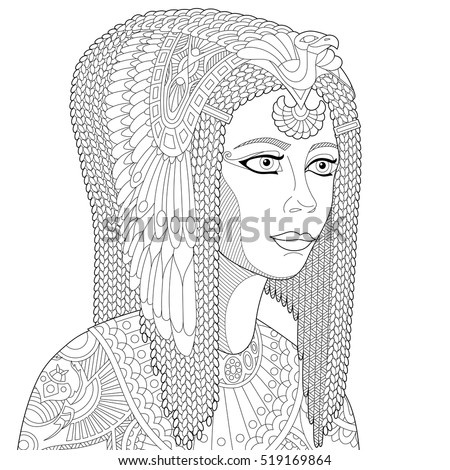 Stylized Cartoon Ancient Egyptian Queen Cleopatra Nefertiti Isolated On White Background Freehand