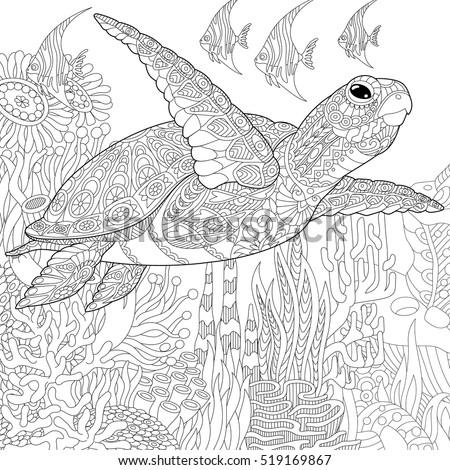 Stylized Cartoon Underwater Composition Turtle Tortoise