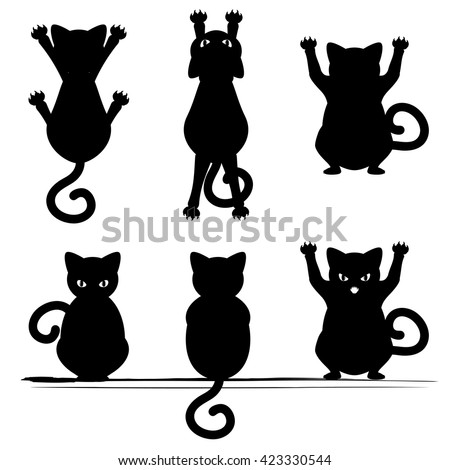 stylized cat silhouette different poses on stock vector