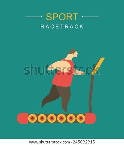 stylized character man playing sports athletics running on a treadmill - stock vector