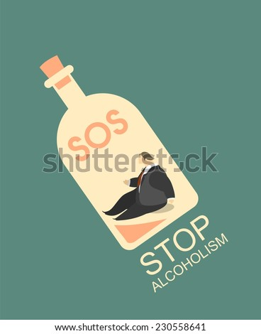 stylized character poster man at the bottom of the bottle with a glass of alcohol in his hands, stop alcoholism - stock vector