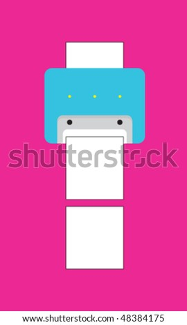 stylized character printer - stock vector