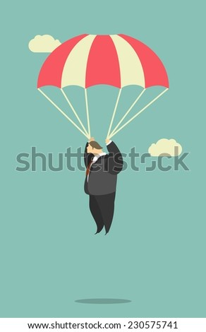 Stylized characters business team is flying in the sky with parachutes has not disclosed - stock vector