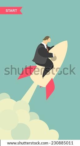 stylized characters businessman start rockets upwards - stock vector