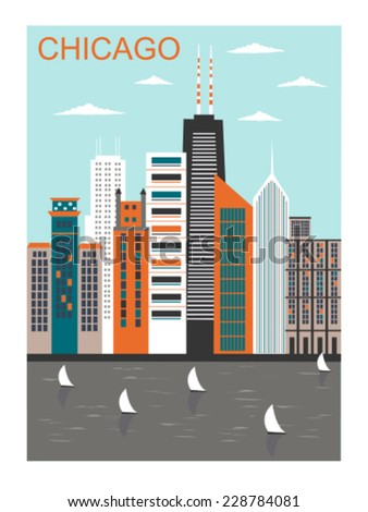 Stylized Chicago city in bright colors. Vector - stock vector
