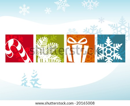 Stylized Christmas Icons on a Winter Background. Flexible, easy-edit file