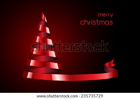 Stylized Christmas tree created from a spiral of satin ribbon. Space for your text. EPS10 vector format - stock vector