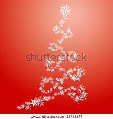 Stylized Christmas tree in spiral shape made from snow flakes