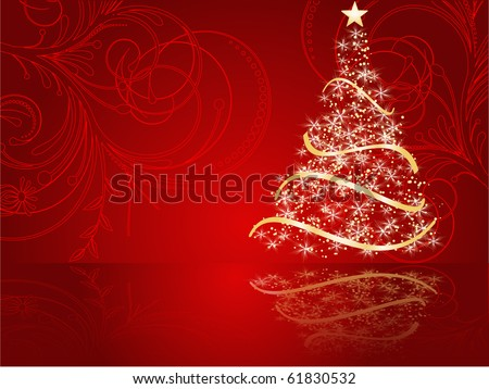 stylized Christmas tree on decorative background - stock vector