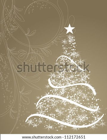 stylized Christmas tree on decorative floral background - stock vector