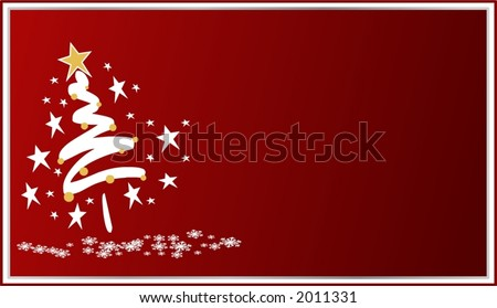 Stylized christmas tree with snowflake and star around it - stock vector