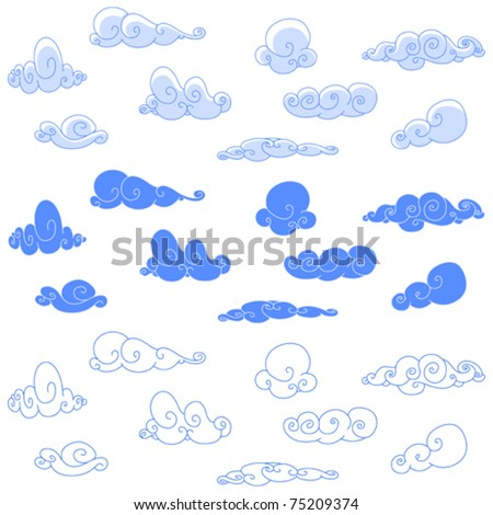 Stylized clouds - stock vector