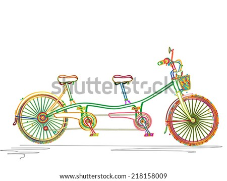 Stylized colored tandem bicycle design over white background - stock vector