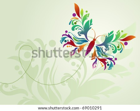 Stylized colorful butterfly on light background