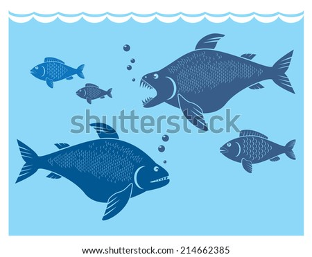 stylized composition fishing theme - stock vector