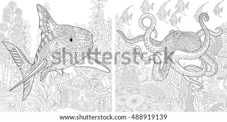 Coloring Page Stylized Composition Of Underwater Shark Octopus Poulpe Tropical Fish Seaweed