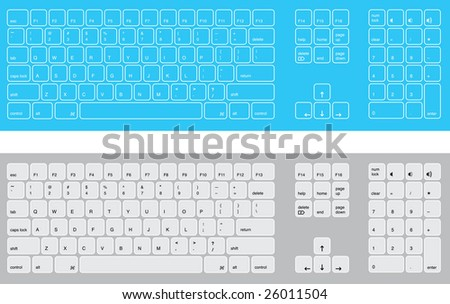 Stylized Computer keyboards - stock vector