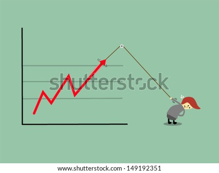 Stylized conceptual business chart - success & support metaphor , eps10 vector format - stock vector