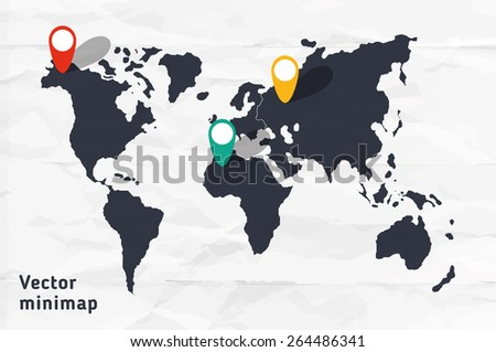 Stylized continental minimap. Vector hand drawn map of whole world. - stock vector