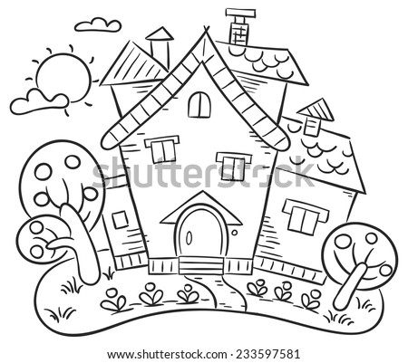 Stylized countryside house with a garden - stock vector