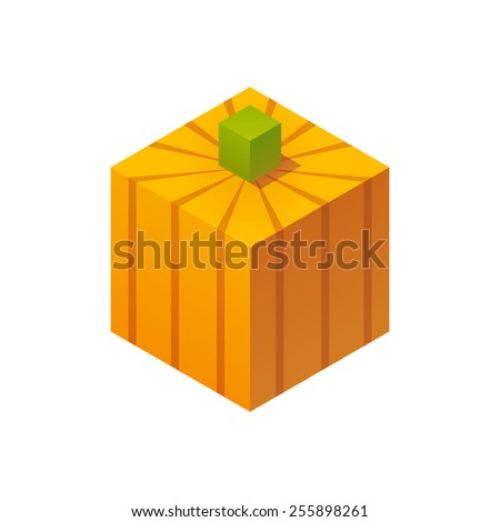 Stylized cubic pumpkin isolated on white background. - stock vector