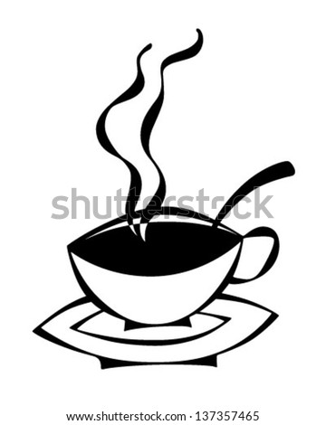 Stylized Cup Of Coffee - Retro Clip Art Illustration - stock vector
