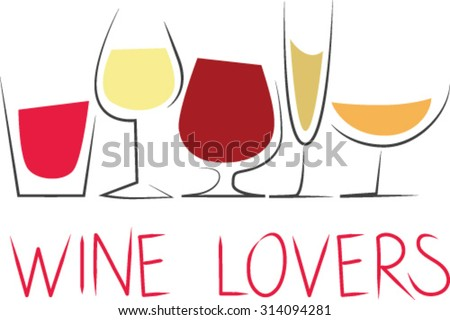 Stylized cups of wine - stock vector