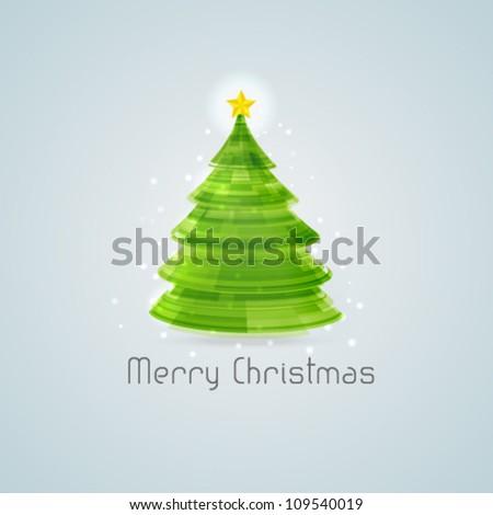 Stylized 3d Christmas tree. Vector illustration. - stock vector