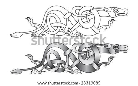 Stylized decorative celtic dragon knot-work illustration - stock vector