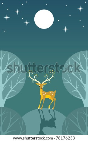 Stylized deer stands on a hill in the moonlight - stock vector