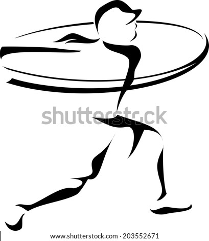 Stylized depiction of a woman softball batter hitting a home run. - stock vector