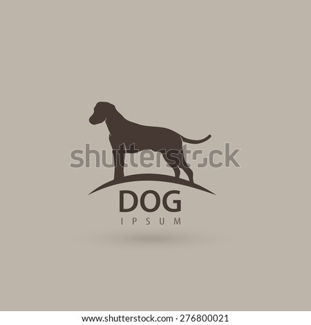 Stylized dog logo design. Artistic animal silhouette. Vector illustration. - stock vector