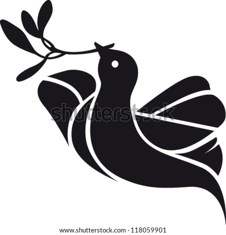 Stylized dove with olive branch in its beak - stock vector