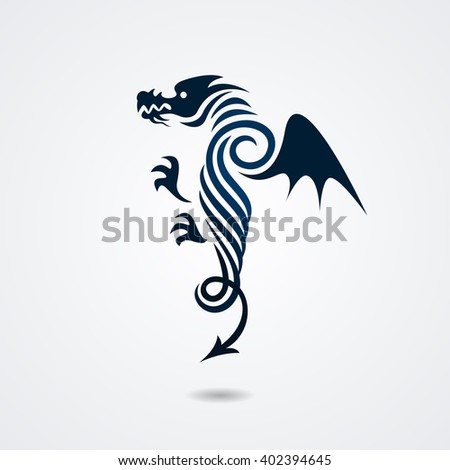 Stylized dragon isolated on white background. Vector illustration - stock vector