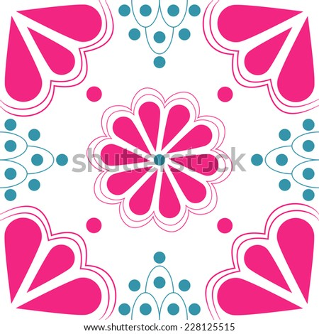 Stylized duo-tone pink & blue floral vector tile that will seamlessly fit into your background. Based on traditional talavera style designs in modern colors.  - stock vector