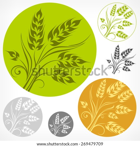 Stylized ears of wheat pattern in round, vector illustration - stock vector