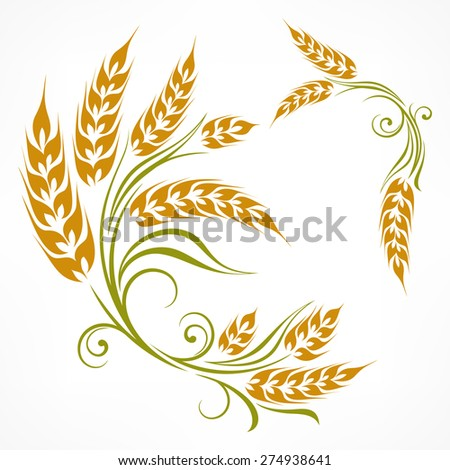 Stylized ears of wheat pattern on white, vector illustration - stock vector